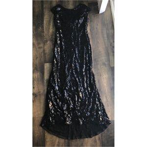 Calvin Klein Black Mesh Draped Back Sequin Dress